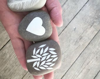 RESERVED for Marie - Painted Stone - Heart - by Natasha Newton