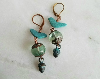 Turquoise Bird Earrings with Acorn Dangles, Verdigris Patina, Copper, Heishi Birds
