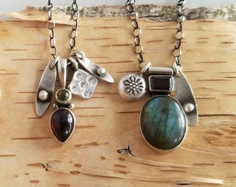 Gemstone Charm Necklace in Sterling Silver