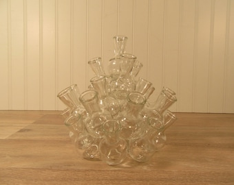 Two piece multiple clear glass pyramid style bud vase- nice condition, solid