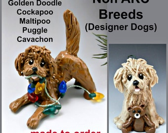 Labradoodle Goldendoodle Cockapoo Maltipoo Puggle Cavachon Made to Order Ornament Figurine Porcelain