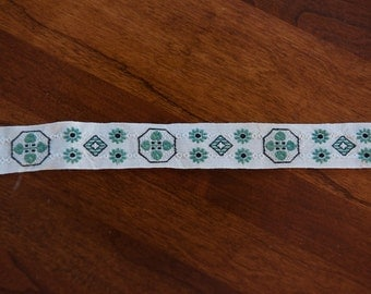 3 yards of Vintage Trim -  60s 70s New Old Stock Woven Geometric and Daisies