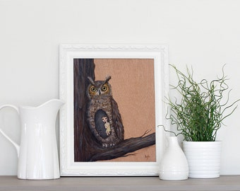 Nesting with the Great Horned Owl - 8x10 Art Print from Original Painting by Kris G. Brownlee