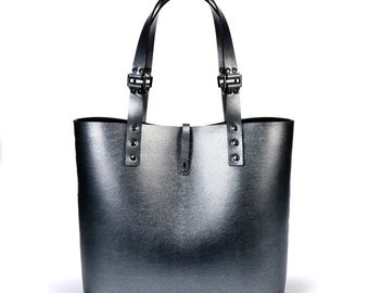 Silver Malachite Tote Bag | Dark Silver Tote | Vegan | Made in USA