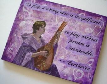 Beethoven Quote Original Collage Art Mandolin Player on Canvas by AllKindsofArt artist Glenda Mullins