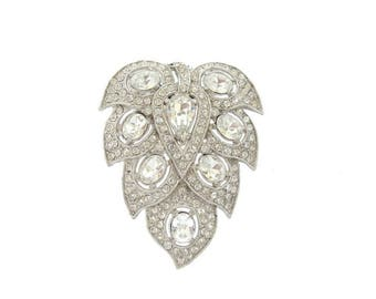 Antique Art Deco Brooch Dress Clip, 1920s Fine Vintage Rhinestone Jewelry, Art Deco Wedding Jewelry. Art Deco Jewellery