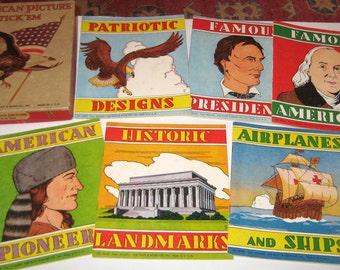 Vintage (1955) Patriotic Themed Sticker Books - American Picture Stick'Em
