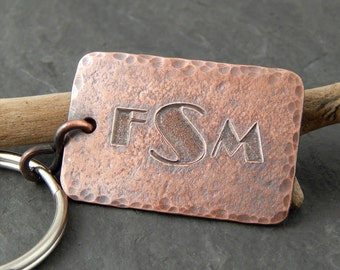 Monogrammed keychain, personalized gifts for him, engraved copper key chain, key fob with monogram, guy gifts, 1 inch x 1.5 inches.