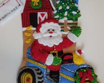 Finished Christmas Stocking - Christmas on the Farm