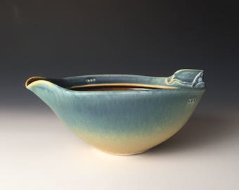 Mix and Pour Bowl - Blue and Soft Yellow