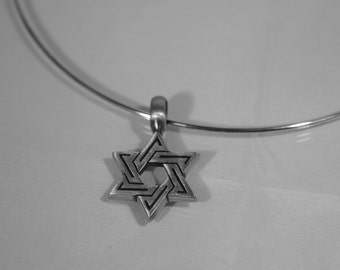 """Pewter Star of David Necklace - Silver Plated Neckwire - 16"""""""