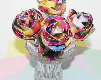 Gumballs Duct Tape as  Rose Buds in Multi Color Design in Rose Bud Made on Ballpoint Pen and Green Duct Tape for Stem Color