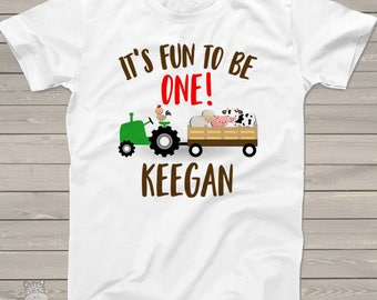 First birthday shirt tractor and farm animals 1st (or any) birthday personalized Tshirt MBD-001