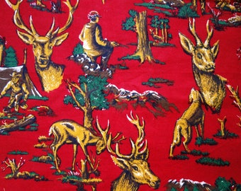 Flannel Hunting Fabric, 5.3 Yards of Red Cotton Flannel Fabric with Golden Yellow and Green Deer Hunters, Dogs, Forest, Cabin or Lodge Print