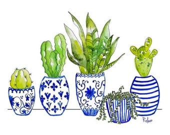 Cactus Watercolor Art Print, Blue Chinoiserie Art Print, Giclee, Blue Chinoiserie Wall Art, Cactus Art Print, Blue and White Art, Succulents