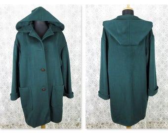 Vintage 1970s Emerald Green Hooded Coat, Wool, Larry Levine, Sz M, L