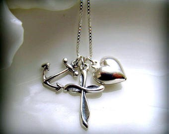 Anchor Heart Cross Necklace, 925 Sterling Silver, 18 Inch Sterling Chain, FAITH HOPE & CHARITY, Baptism, Confirmation Gift