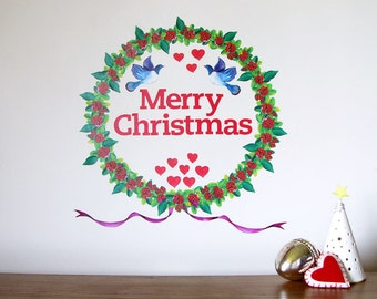 Christmas Wreath Pohutukawa wall decal large – fabric wall stickers