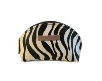 leather pouch zebra hair, print black white