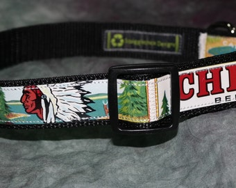 Adjustable Dog Collar from recycled Vinatage Chief Beer Labels