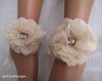 Beach barefoot sandals, wedding ivory organza Bellydance, Beach Pool,  Beach sandals, Brautsandalen, Sandales de mariée