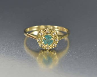 English Gold Diamond Halo Emerald Ring, Emerald Engagement Ring, Gold Diamond Ring, Bohemian Stacking Birthstone Ring, Promise Ring