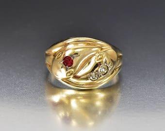 Sale Victorian Gold Snake Ring, Ruby Diamond Paste Ring, Antique Gold Ring, Victorian Ring, Statement Ring, Size 10, Antique Snake Ring