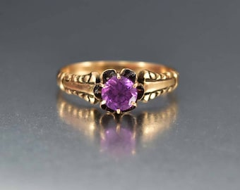 Alexandrite Ring, Color Changing Sapphire Ring, Antique Victorian Engagement Ring, 14K Gold Antique Ring, Solitaire Promise Ring