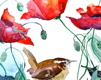 "Watercolor Painting, Wren with Poppies, Print, 8""x10"""