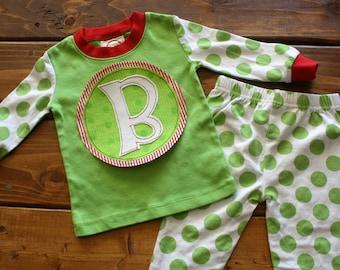 Christmas Pajamas, Kids Christmas Pajamas, Monogram Shirt, Striped Pajamas, Family Pajamas, Personalized Pajamas, Christmas Cards, Santa