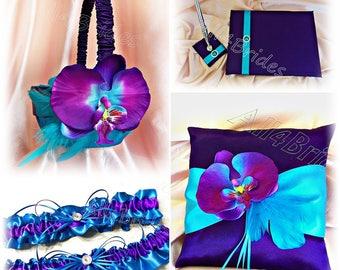 Purple and turquoise wedding set, ring bearer pillow, flower girl basket, guest book and pen, bridal keepsake and toss garter set