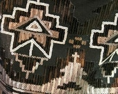 Black Cotton Fabric with Sequins in Black, Brass, Silver Geometric Aztec Design 59 in Wide By the Yard C354