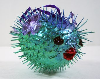 Fish, Ornament, Christmas, Ocean, Shell, Blue, Green, Glitter, Pufferfish, Blowfish, Sealife,