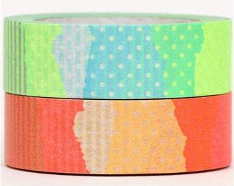 170114 mt Washi Masking Tape deco tape set 2pcs neon stripes dots