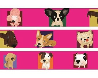 210694 pink with funny dog Washi Masking Tape deco tape Shinzi Katoh