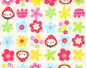 214881 cream with cute colorful flower strawberry with face poplin fabric from Japan