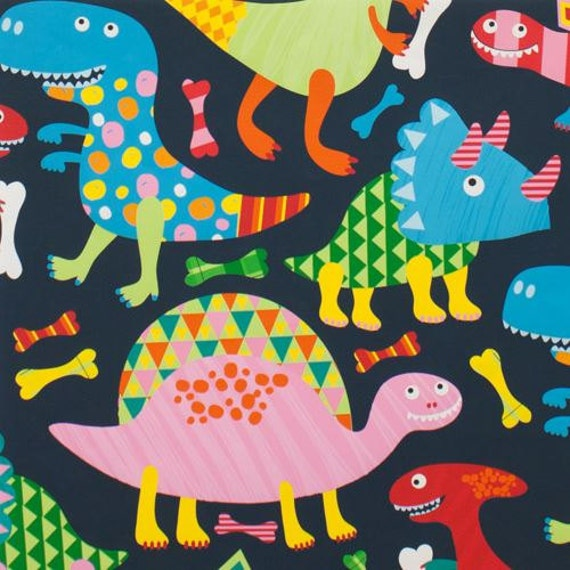 211142 dark grey blue cute colorful dinosaur knit fabric for Grey dinosaur fabric