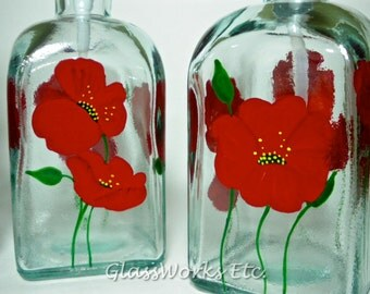 Soap dispenser recycled glass hand painted with red poppies