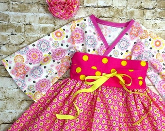Little Girls Pink Dress - Spring Dress - Toddler Spring Dress  - Girls Kimono Dress - Spring Fashion - Spring Birthday -  12 mo to 14 yrs