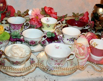 Vintage Floral Soy Wax Tea Cup Candle Assortment,Matching,Wedding,Anniversary,Birthday,Tea Party,Bridal,Homemade,Hand Poured,YOUR SCENT