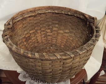 Antique Splint Wood Swing Handle Large Woven Basket 19th C