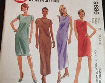 McCalls 9686 Misses Dress Maxi Shift Bateau Size C 10-12-14