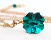 Crystal four leaf clover necklace - Good Luck necklace - St. Patrick's day jewelry - greenery - emerald green - Swarovski crystal