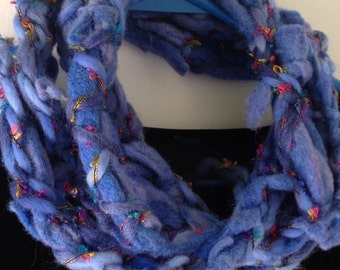 Crochet scarf, women's unusual very chunky long blue skinny wool felt fashion, hand dyed woman's Bohemian grunge fiber art i925
