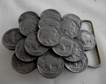 1986 C&J Buffalo and Indian Nickle Belt Buckle #1055