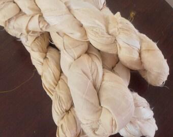 400 grams 4 skeins recycled silk   ribbon  knitting crochet craft embellishment yarn mixed off white cream ivory