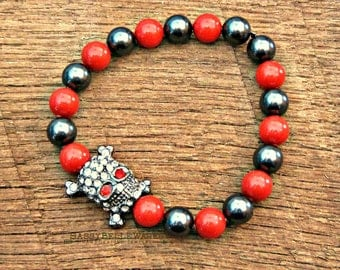 Rhinestone Skull & Crossbones Swarovski Pearl Bracelet red grey black gunmetal diamond color Gasparilla rocker girl glam pirate chic