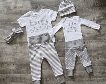 Baby Boy Coming Home Outfit. Matching Sibling Set. Big Sister. Little Brother. Gender Neutral Baby Coming Home Outfit. Take Home Baby Outfit