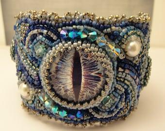 Bead Embroidered Blue Seeing Eye Bracelet #2