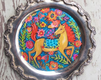 Small Folk Art Horse Painting on a Vintage Tray
